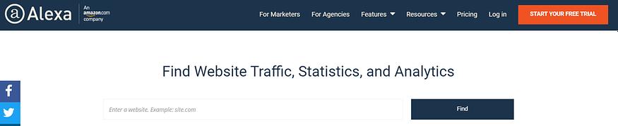 Free SEO Tools - Alexa homepage