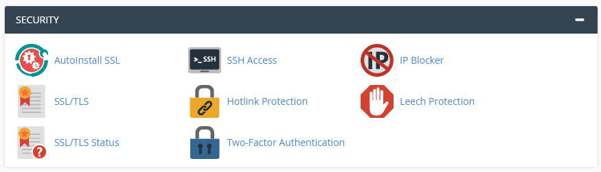 Accessing your SSL configuration options from cPanel.