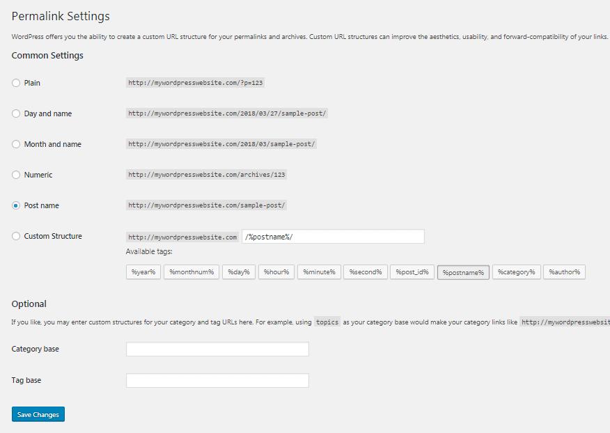 The permalink settings in WordPress.