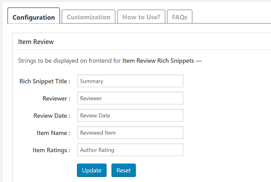 configure the snippets settings