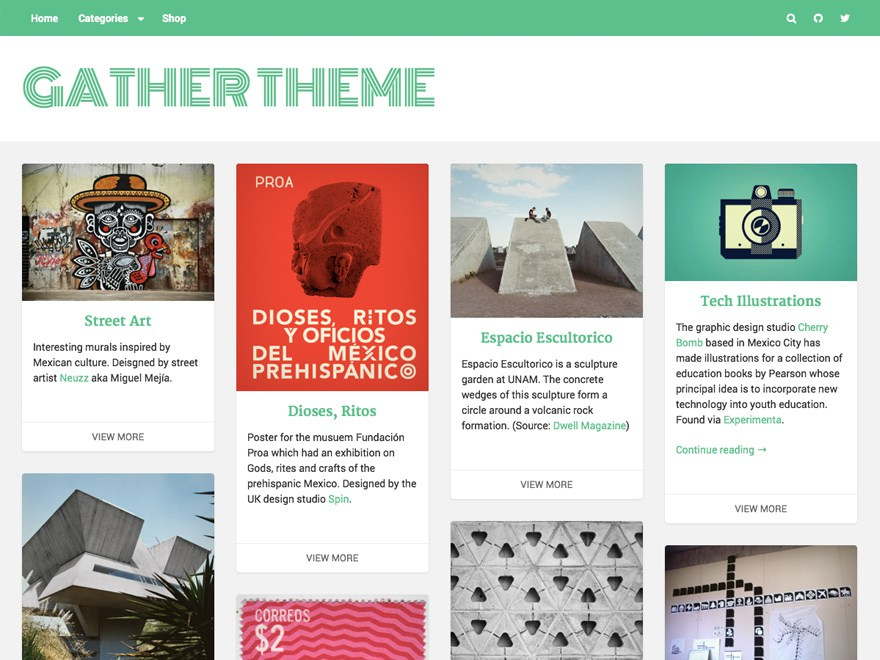 The front page of Gather shows a strong focus on content sharing and consumption