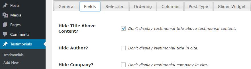 Choosing which fields your WordPress testimonials will include.