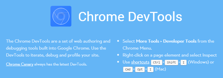 A screenshot of the Chrome Developer Tools homepage.
