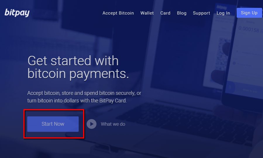 Start Now button on BitPay - your first step to accept Bitcoin on WordPress