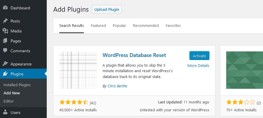 How to reset WordPress: Install WordPress Database Reset Plugin