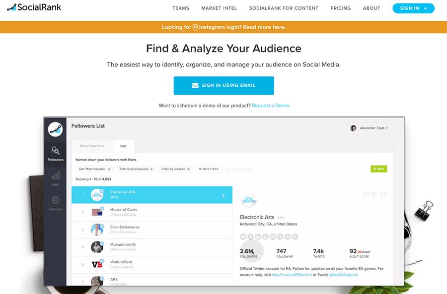 SocialRank Instagram analytics tools