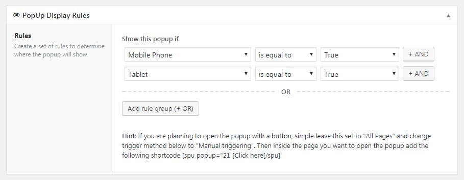 The Popups plugin display rules.