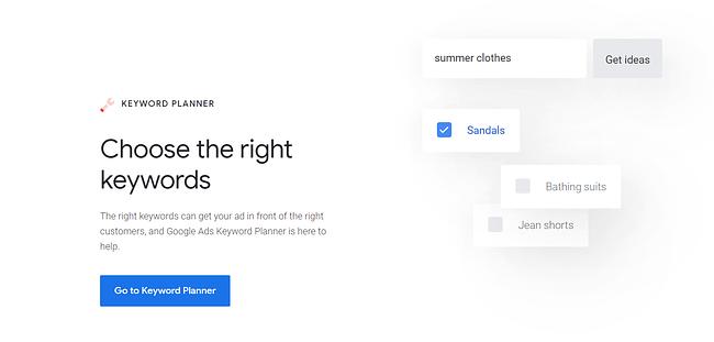 A screenshot of the Google Keyword Planner homepage.