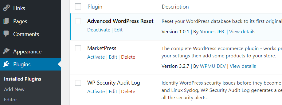 An example of multiple plugins active on a site.