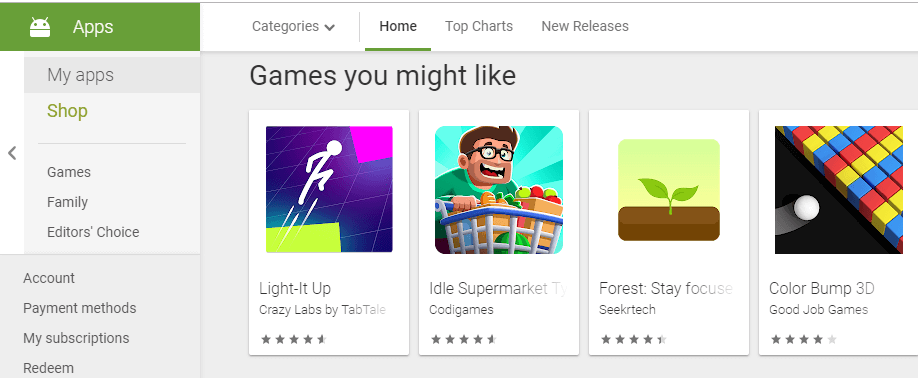 The Android app store.