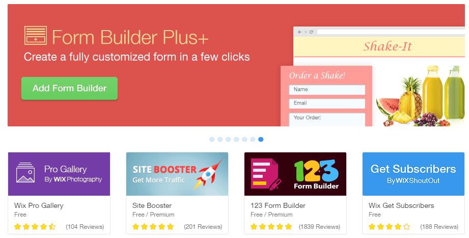 A screenshot of the Wix app catalog.