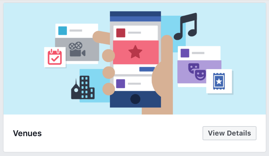 An example of some of the themes you can add to your Facebook business page, including Venues and Non profit.