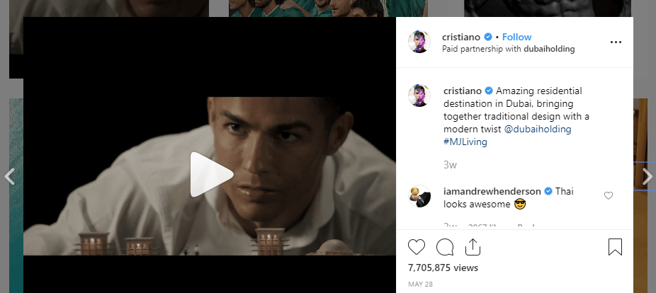 An example of a sponsored post in Cristiano Ronaldo's Instagram feed.