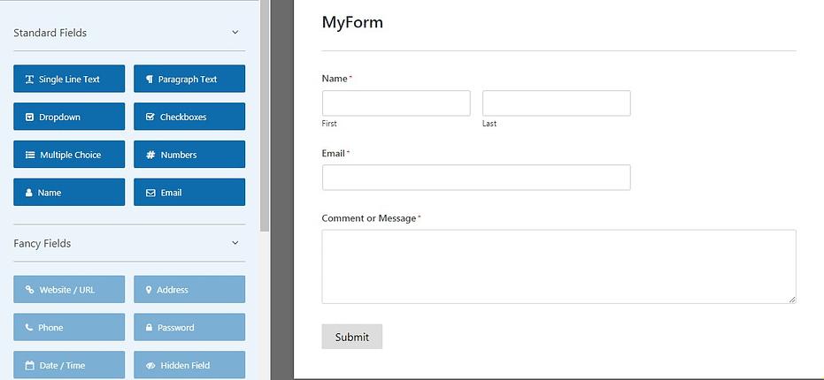 The WPForms editor screen.