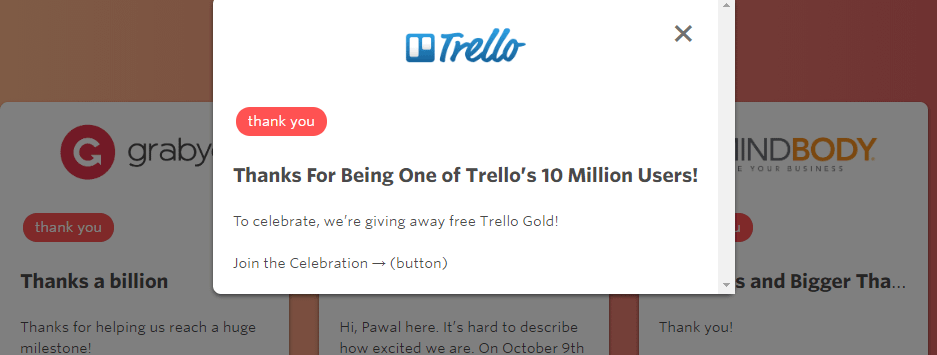 A thank you message from Trello, including a gift.
