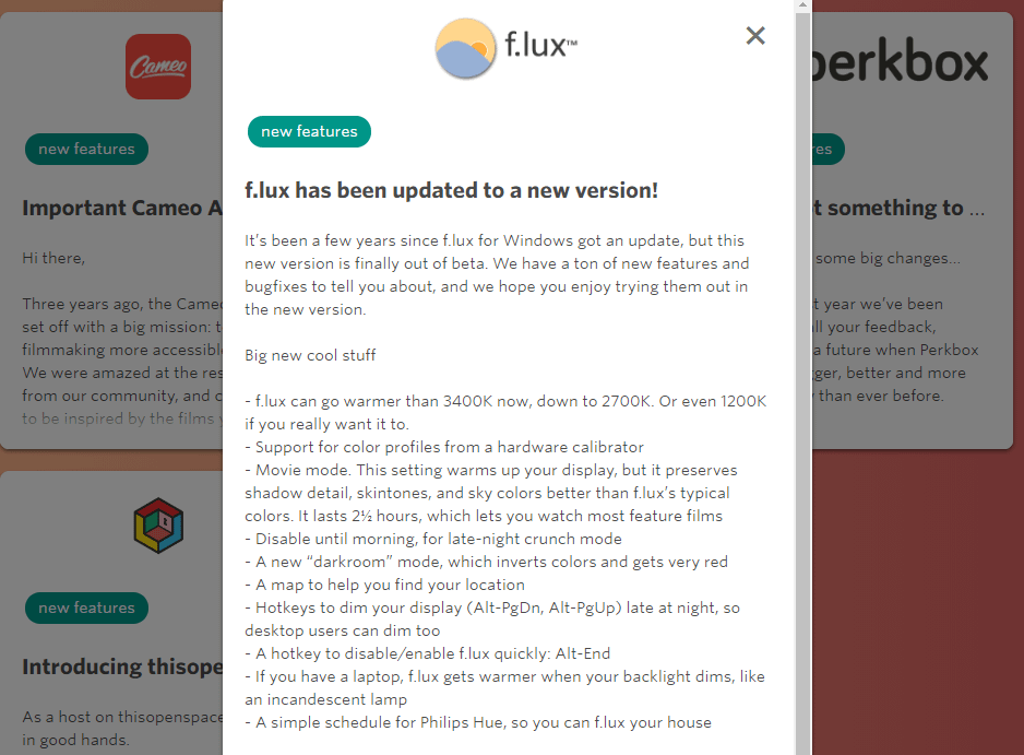 An example of a product update email.