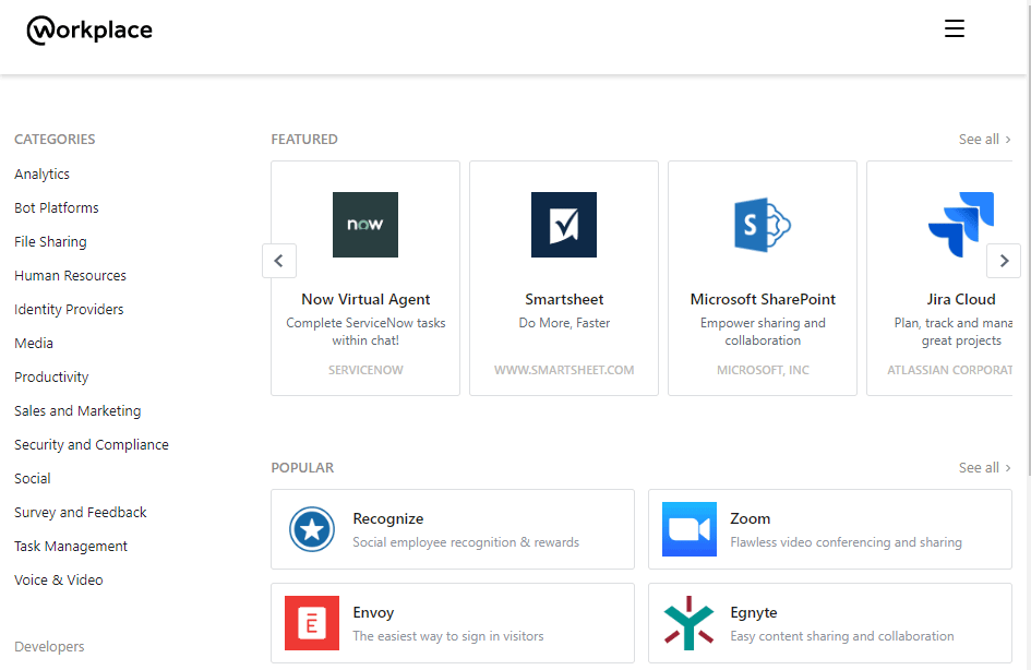 A look at some of Workplace's available integrations.
