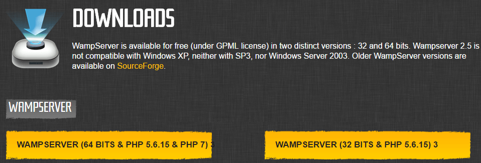WampServer's download options.