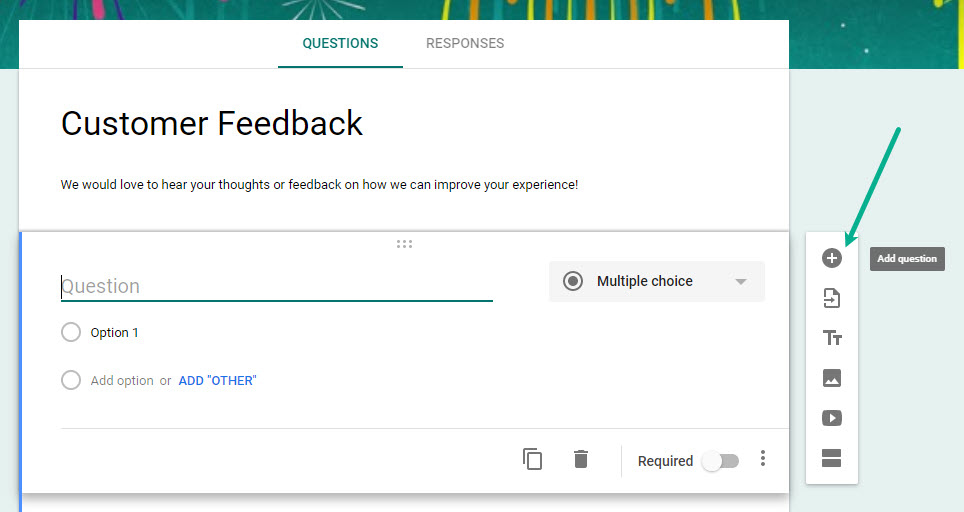 Adding a new field to Google Forms