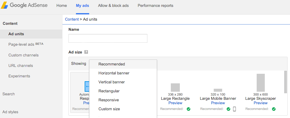 Ad options within Google AdSense.
