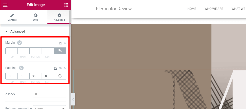 custom margins/padding