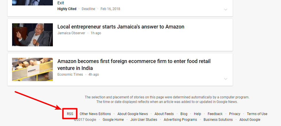 example of a Google News search