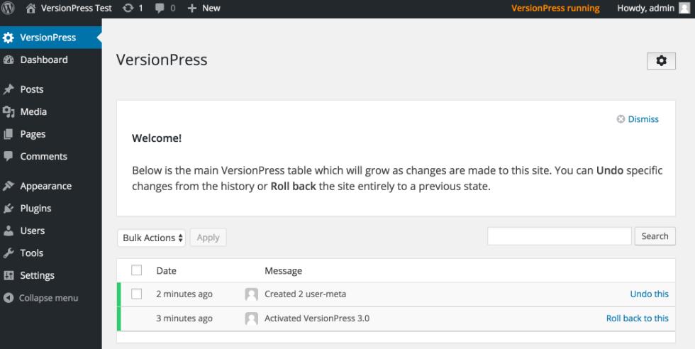 WordPress version control with VersionPress