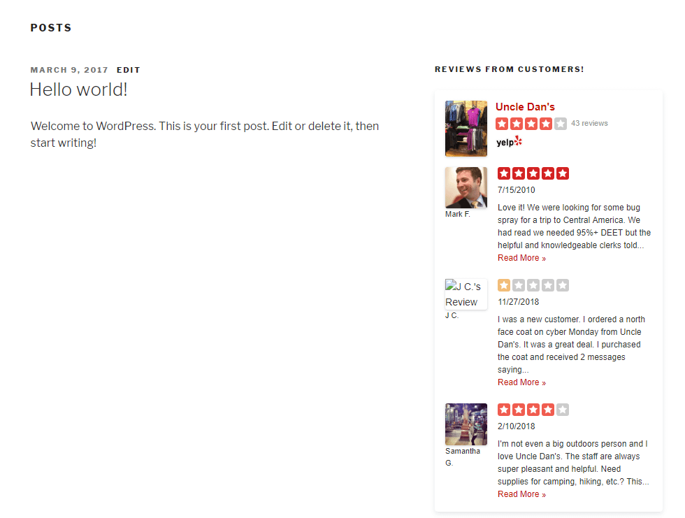 Example of Yelp reviews on the frontend