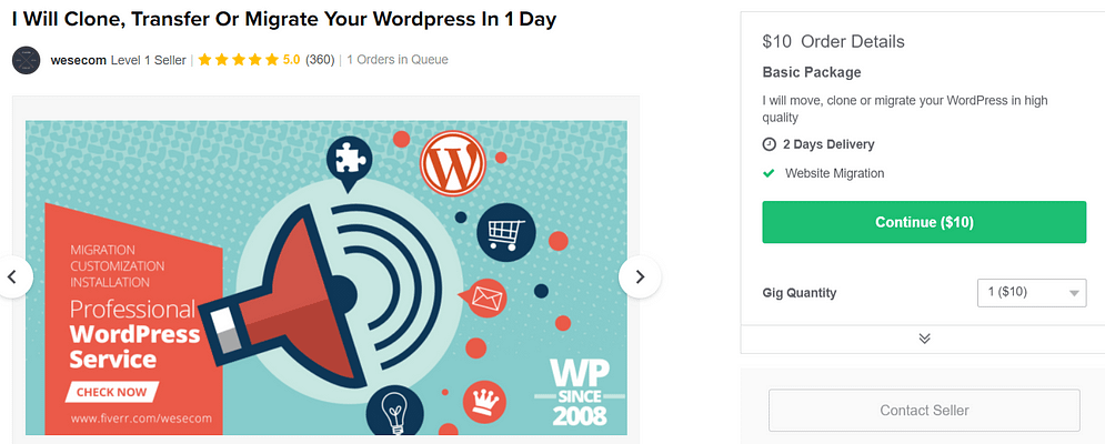 An example of a WordPress gig.