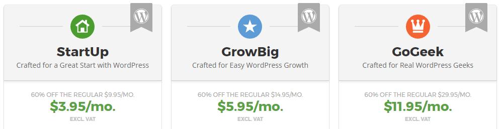 SiteGrounds WordPress hosting plans.