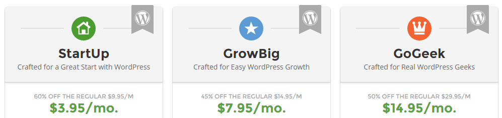 A screenshot of SiteGround's WordPress plans.