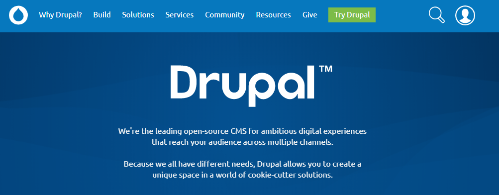 The Drupal 9 home page.