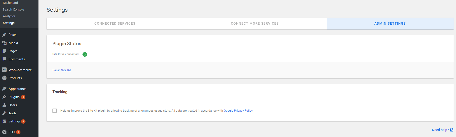 Checking Google Site Kit's settings.