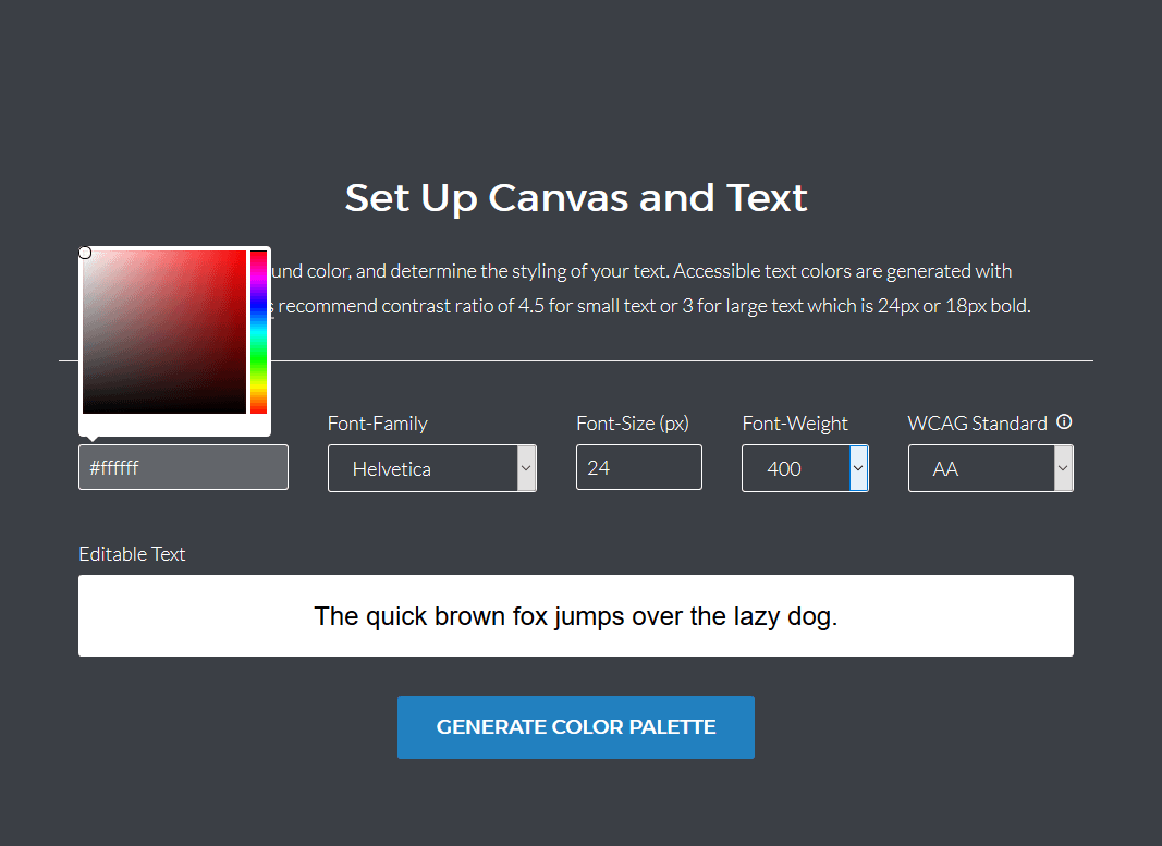 The Color Safe set up allows you to set you background, sample text, and various font options.